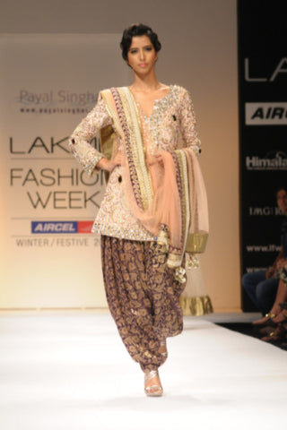 Blush Zardosi & Crystal Kurta with Purple Pants