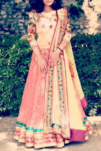 Coral Pink floral Embrioded Lehenga