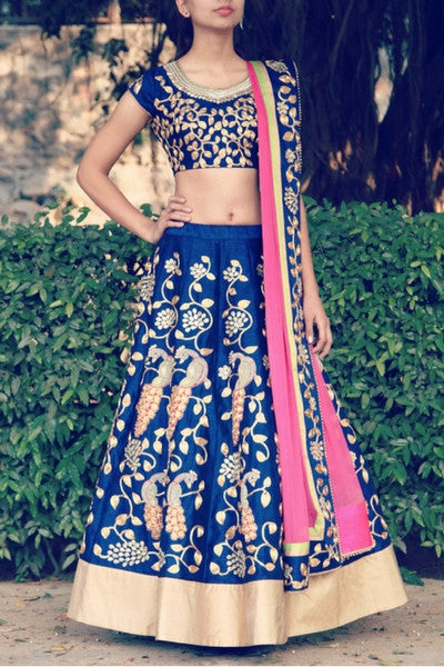 Ink Blue and Gold Peacock Embroided Lehenga