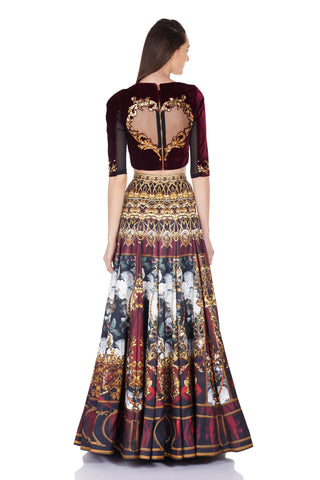 Lila Crop Top and Lehenga