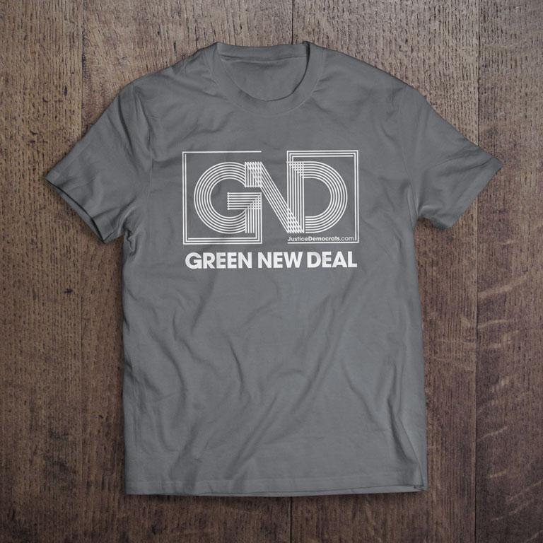 Adult Green New Deal Organic T-Shirt in Gray
