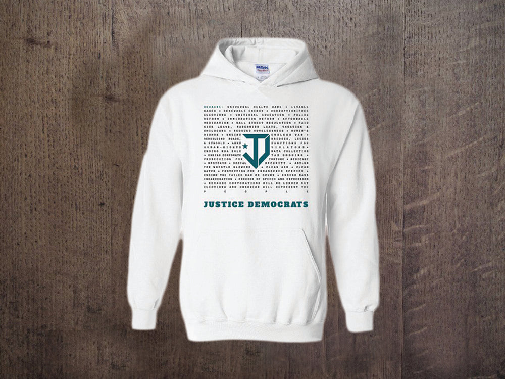 JD Because White Pullover Hoodie