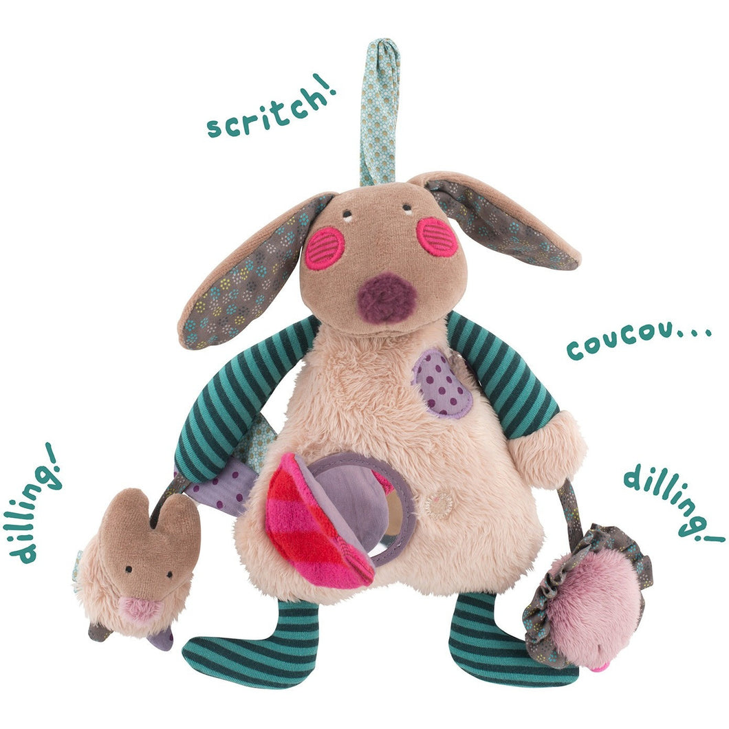 Les jolis pas beaux hanging Activities Rabbit Plush with baby-safe mirror - ALittleRaspberry