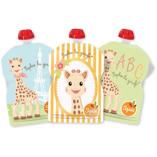Set of 3 reusable pouches 90ml - Sophie la girafe collection - ALittleRaspberry