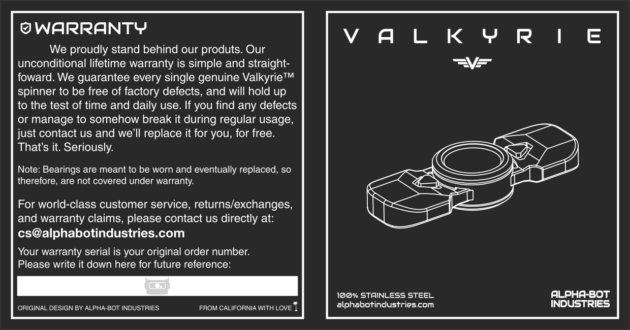 Valkyrie Fidget Spinner Instructions Side A