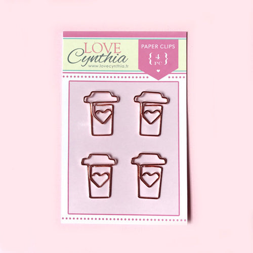 Coffee Paper Clip Set - Rose Gold