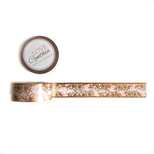 Floral Rose Gold Foil Washi Tape