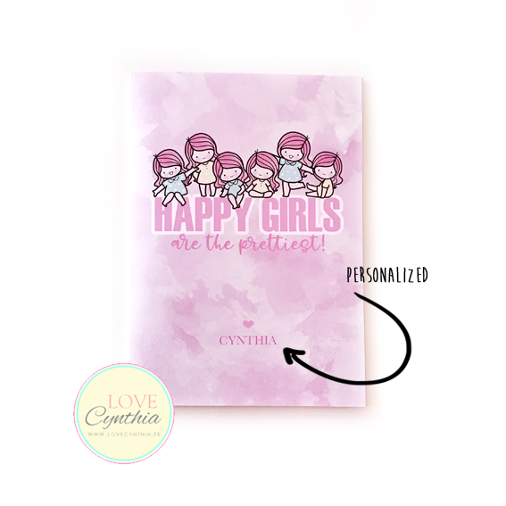 STICKER COLLECTING BOOKLET - HAPPY GIRLS ARE THE PRETTIEST - PINK
