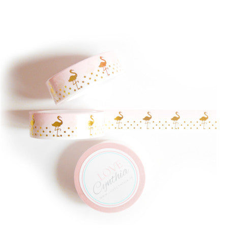 Flamingo Gold Foil Washi Tape