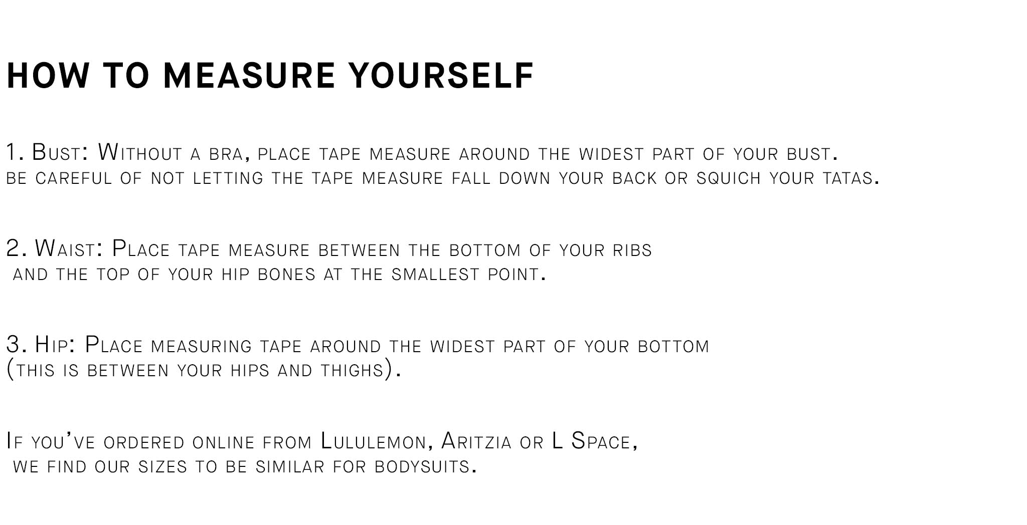 how to measure yourself for a londre swimsuit
