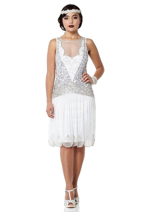 Elaina Art Deco Inspired Drop Waist Dress in off White - Dress - Euphoria's