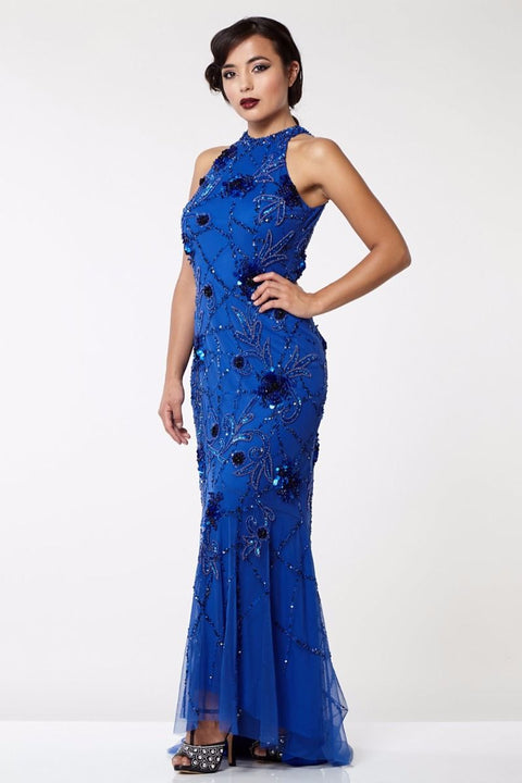 Agnes Art Deco Inspired Maxi Dress in Blue - Dress - Euphoria's