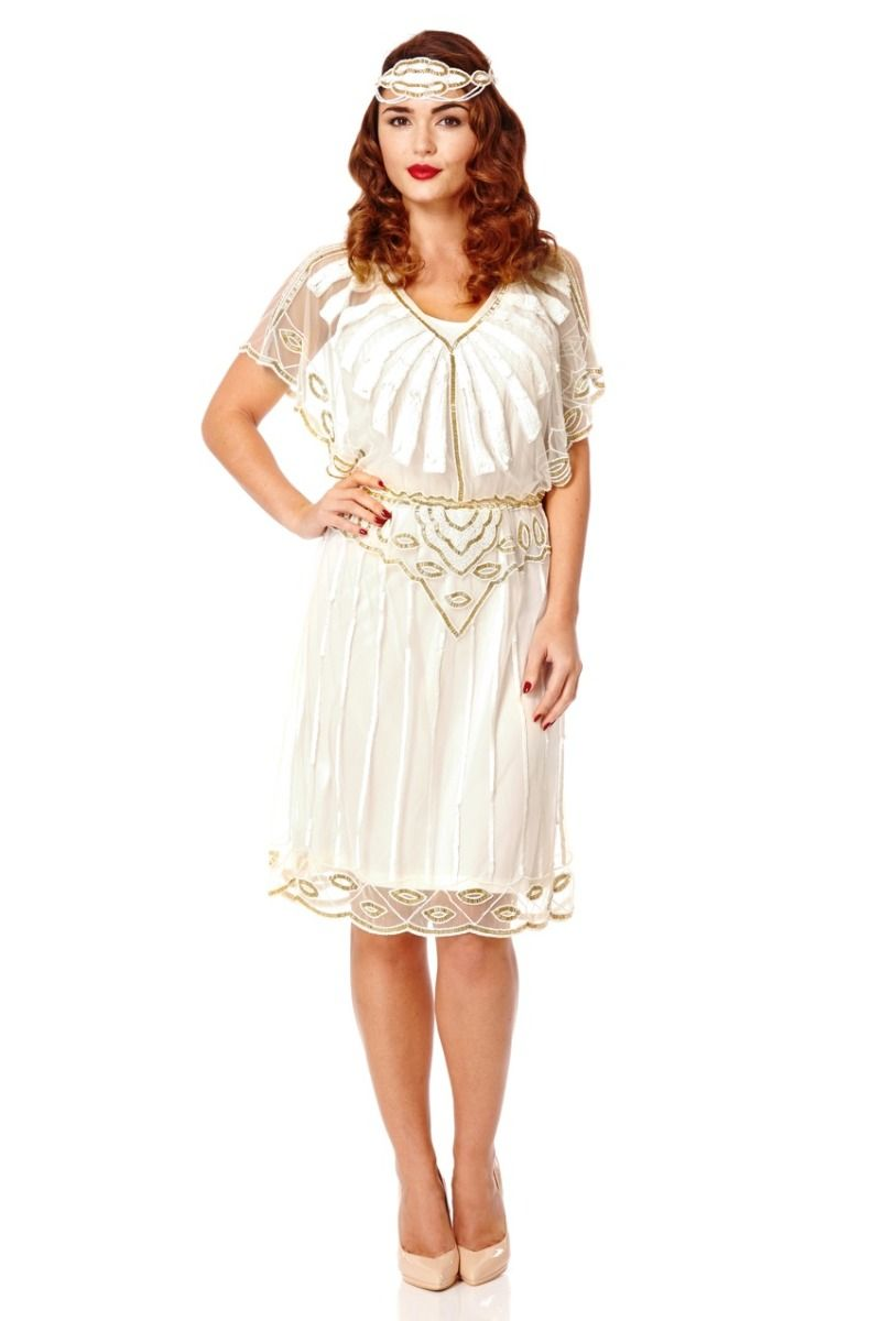 Angel Sleeve Art Deco Inspired Dress in White - Dress - Euphoria's