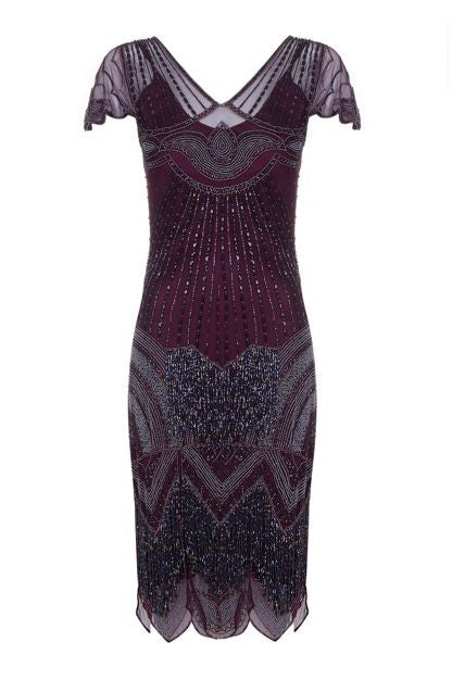 Beatrice Fringe Flapper Dress in Plum - Dress - Euphoria's