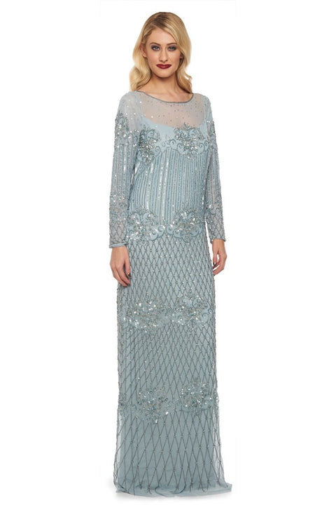 Dolores Art Deco Inspired Maxi Dress in Blue - Dress - Euphoria's