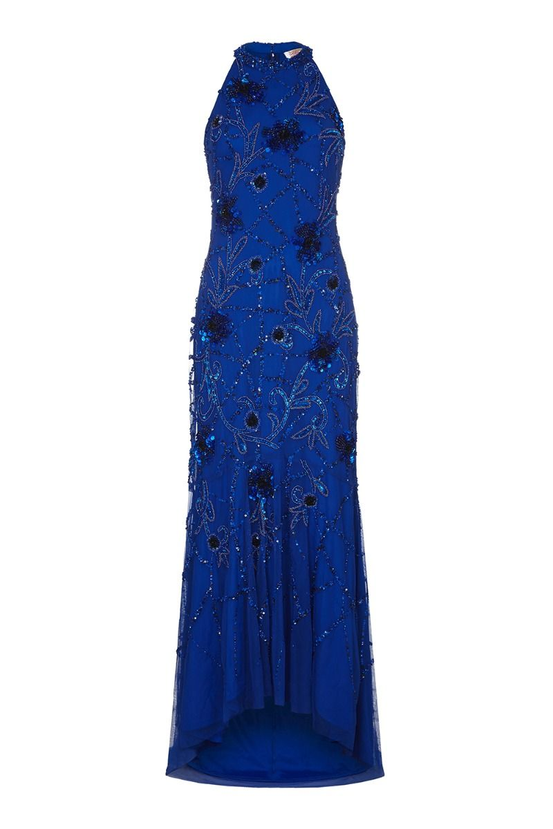 Agnes Art Deco Inspired Maxi Dress in Blue