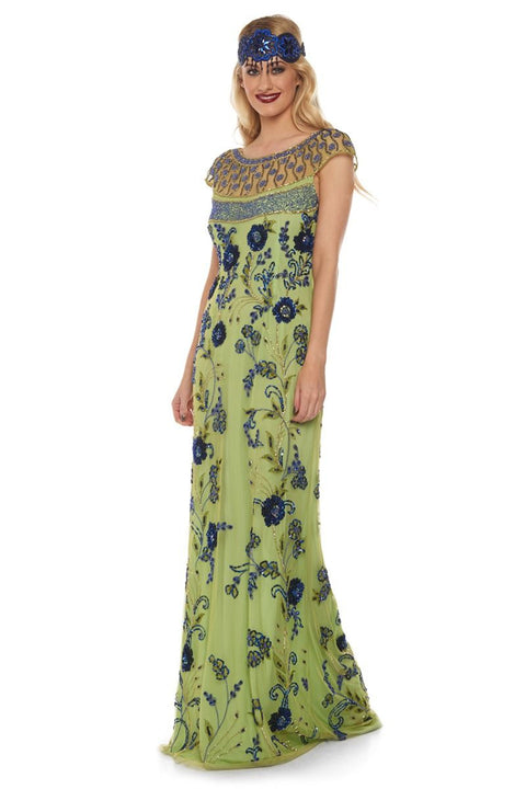 Elizabeth Lime Blue Maxi Dress - Dress - Euphoria's