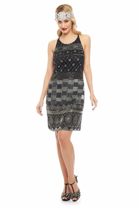 Eloise Vintage Inspired Deco Halter Neck Dress in Black and Silver - Dress - Euphoria's
