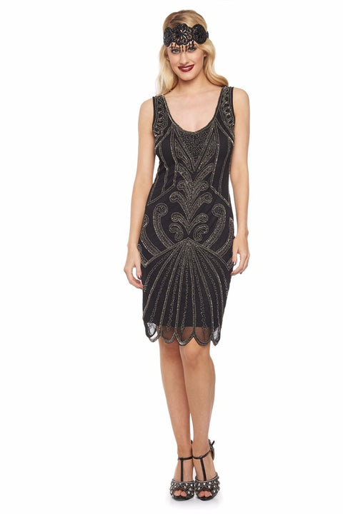 Francesca Art Deco Flapper Dress Black Silver - Dress - Euphoria's