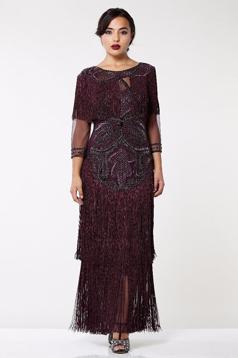 Glam Art Deco Fringe Flapper Maxi Dress in Plum - Dress - Euphoria's
