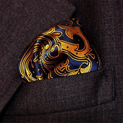 Paisley Woven Blue Gold Silk Pocket Square - Tie - Euphoria's