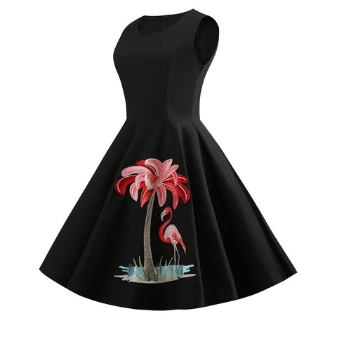 1950s Inspired Black A-line Dress with Embroidered Flamingo - Dress - Euphoria's