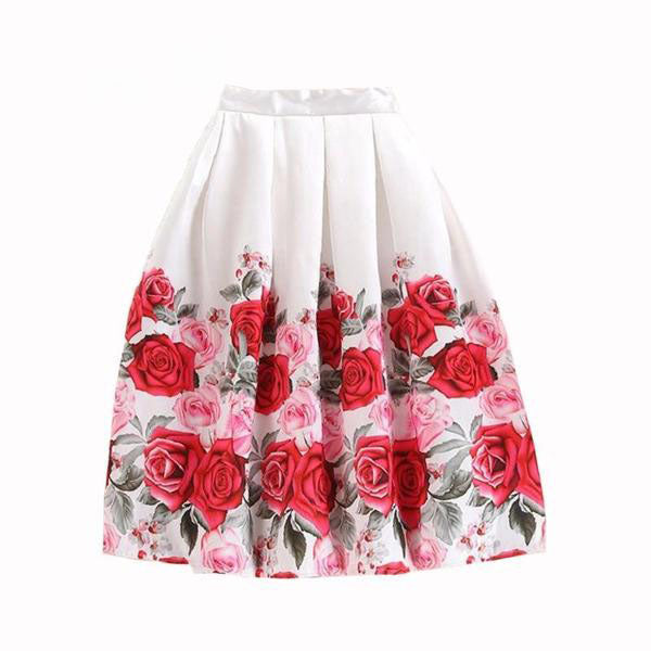 Elegant Vintage Rose Flower Floral Pleated Skirt