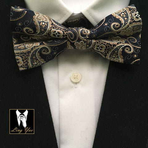 Golden Paisley Bowtie with Handkerchief Set - Tie - Euphoria's