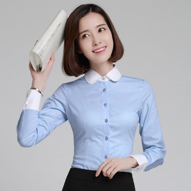 Women's White Collar Blouse - Shirt - Euphoria's