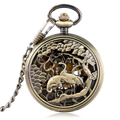 Decorative Crane Cut-out Pocket Watch - Pocket Watch - Euphoria's