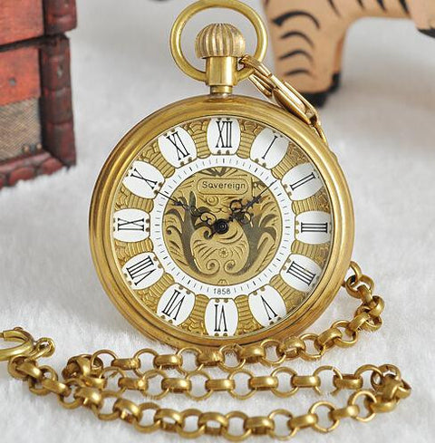 Roman Numeral & Gold Pocket Watch - Pocket Watch - Euphoria's