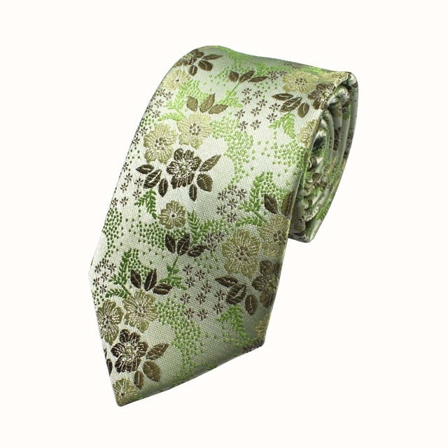 Lime and Brown Silk Floral Necktie - Tie - Euphoria's