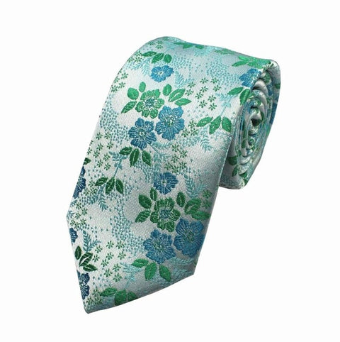 Forest Green and Periwinkle Silk Floral Necktie - Tie - Euphoria's