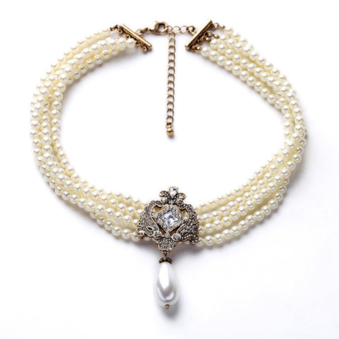 Multi Layered Clear Crystals Pendent Necklace - Necklace - Euphoria's