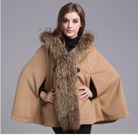 Hooded Faux Fur Collar Wool Cardigan Shawl Cape Khaki and Gray