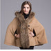 Hooded Faux Fur Collar Wool Cardigan Shawl Cape Khaki and Gray - Coat - Euphoria's