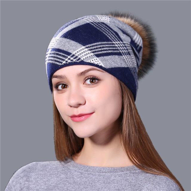 Plaid Knitted Winter Beanie Cap with Fur Pom Pom - Hat - Euphoria's