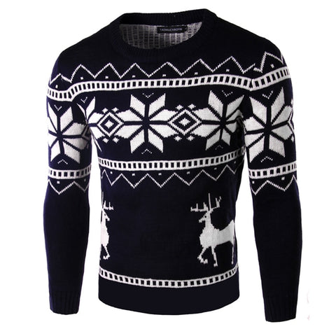 Loldeal Winter Deer Sweater Dark blue - Wool Sweater - Euphoria's