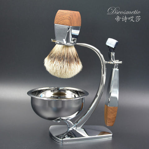 Chrome & Badger Hair Shaving Set - Blue - Shaving Kit - Euphoria's