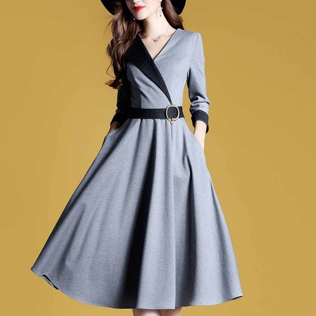 Sisjuly Women Autumn High Waist Long Sleeve Dress - Dress - Euphoria's