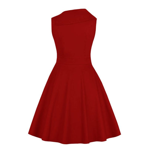 1950s Sleeveless A Line Swing Dress - Red