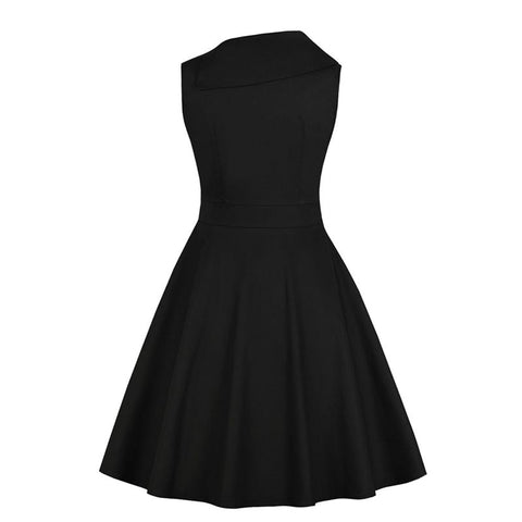 1950s Sleeveless A Line Swing Dress - Black