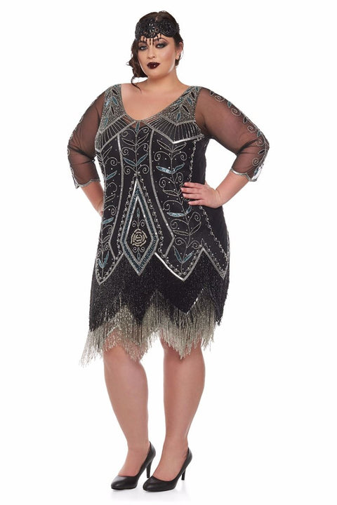 Scarlet Fringe Flapper Dress in Black & Silver - Dress - Euphoria's
