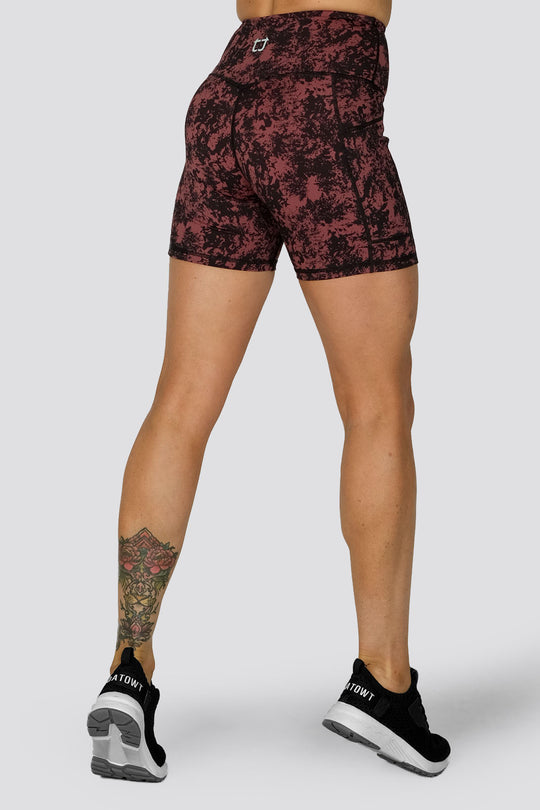 Duende Mid Biker Shorts  - Red Gum