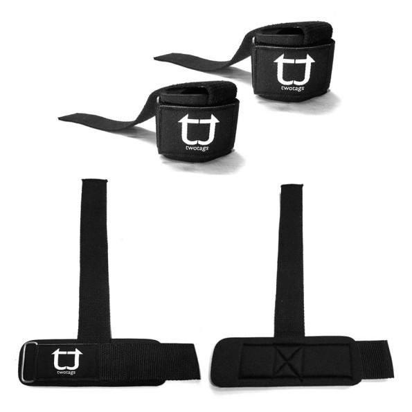 Twotags Weight Lifting Grip Straps - Black