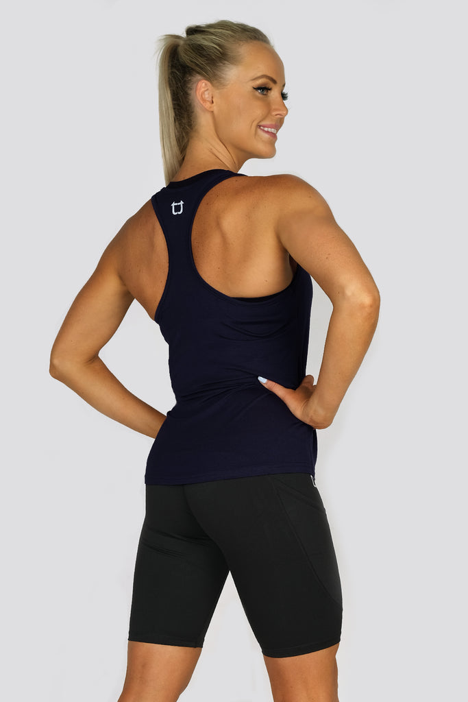 Basic Racerback Tank Top - Navy