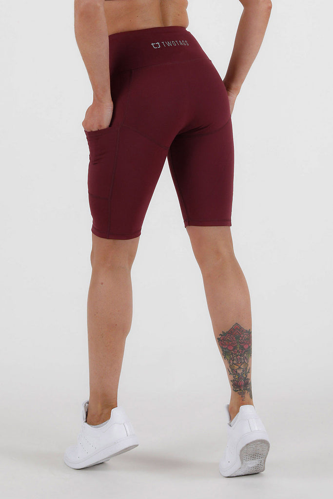 Balance Highwaisted Biker Shorts - Burgundy