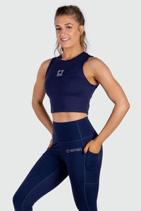 Basic Bae Cropped Tank - Navy Blue