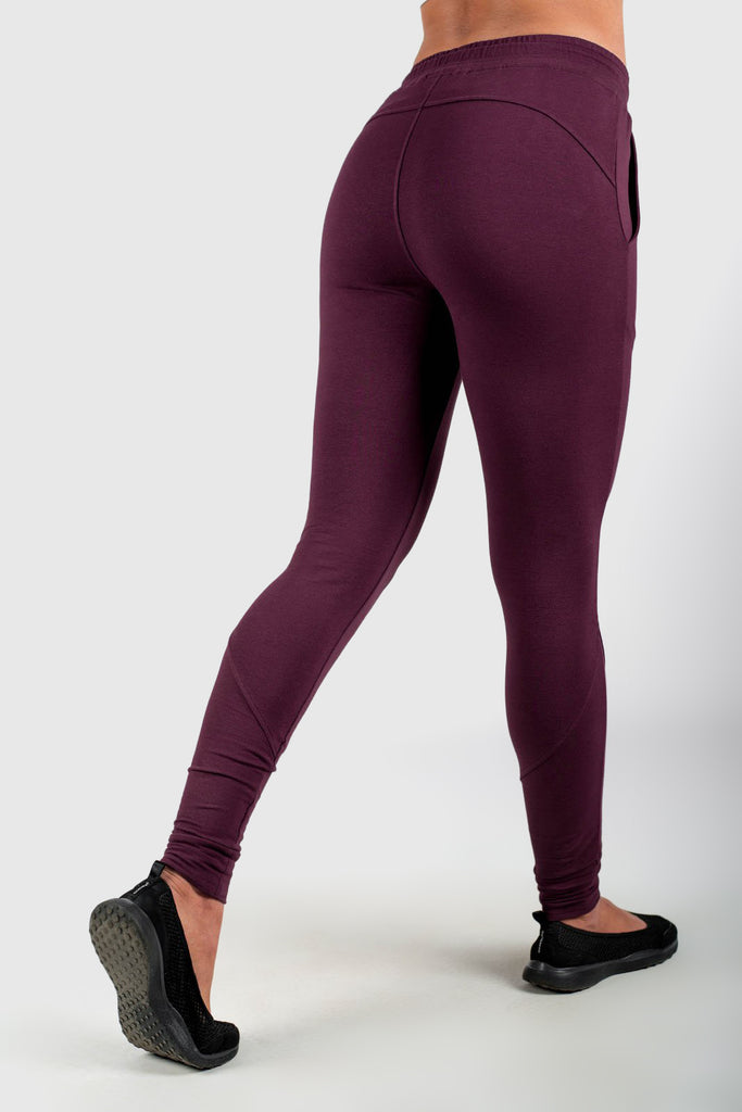 Twotags Ladies Highwaisted Chill Jogger – Burgundy