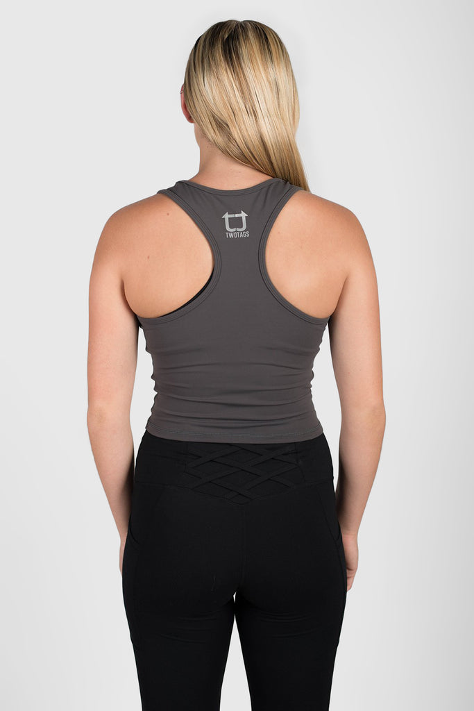 Twotags Ladies Classic Core Racerback Tank – Charcoal Grey